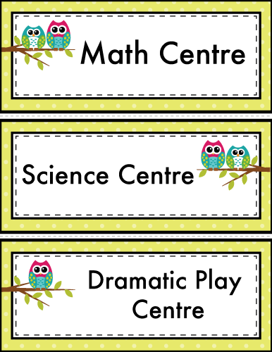 Owl classroom center labels u s learning attic for Room labels
