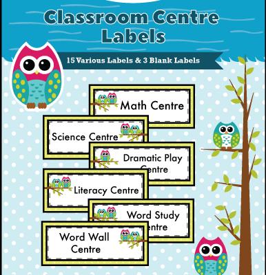 Classroom Centre Labels - Canadian