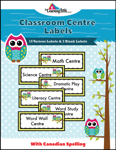 Classroom Centre Labels - Canadian