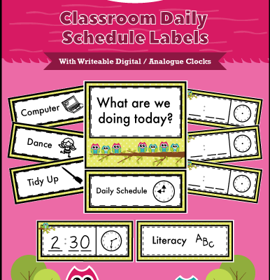 Classroom Daily Schedule Labels