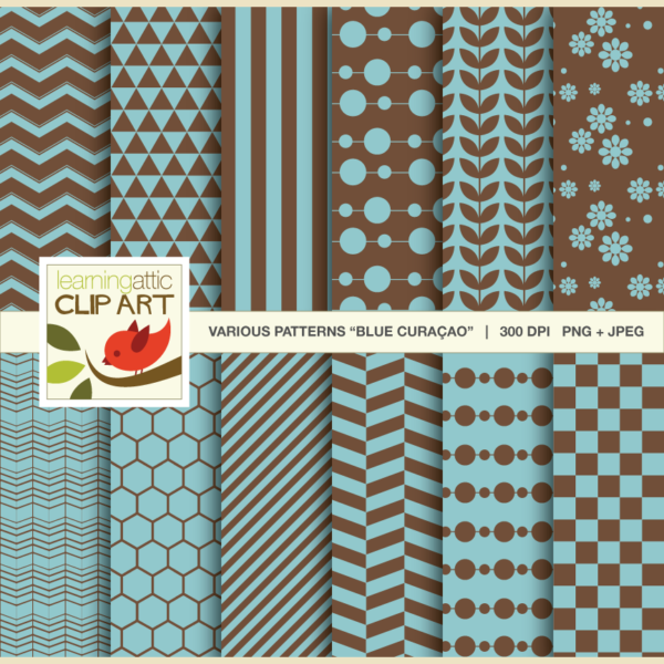 "Clip Art: 12 Various Digital Patterns in ""Blue Curacao"" - 24 Digital Papers"