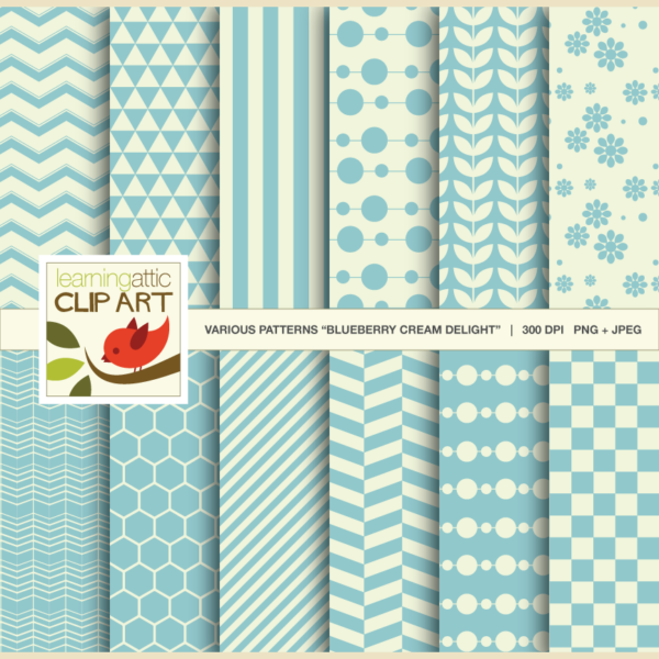 Clip Art: 12 Various Digital Patterns Blueberry Cream Delight 24 Digital Papers
