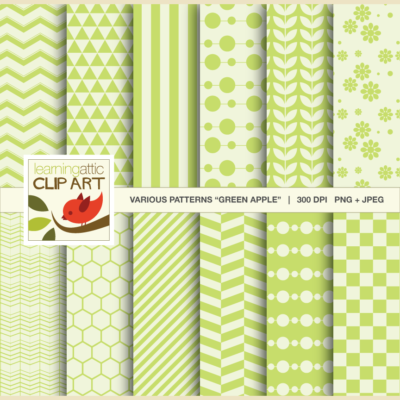 "Clip Art: 12 Various Digital Patterns in ""Green Apple"" - 24 Digital Papers"