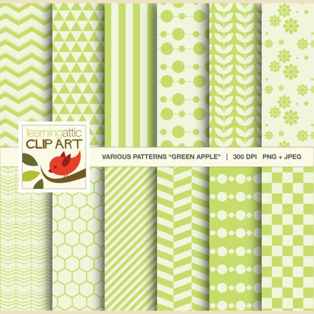 "Clip Art: 12 Various Digital Patterns in ""Green Apple"" - 24 Digital Papers"