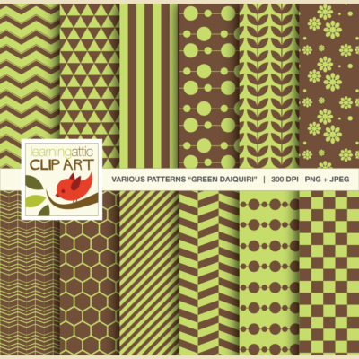 "Clip Art: 12 Various Digital Patterns in ""Green Daiquiri"" - 24 Digital Papers"