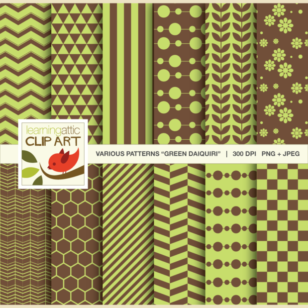 "Clip Art: 12 Various Digital Patterns in ""Green Daiquiri"" - 24 Digital Papers"