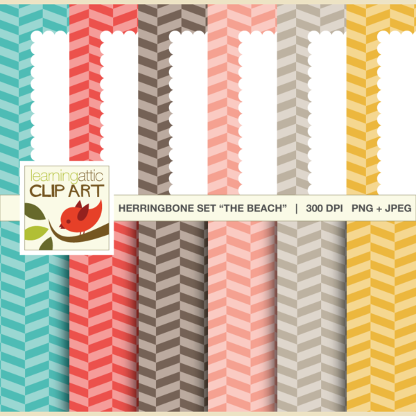 "Clip Art: Digital Papers & Scallop Bordered Backgrounds Set ""The Beach"""