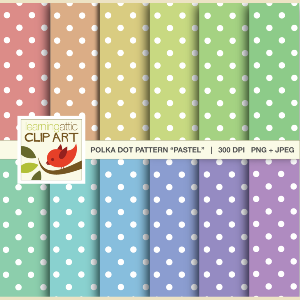 Clip Art: Polka Dot Patterns in pastel colors - 12 Digital Papers