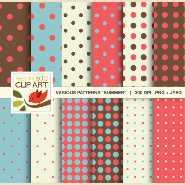 "Clip Art: 12 Polka Dot Patterns in ""Summer Colors"" - 24 Digital Papers"
