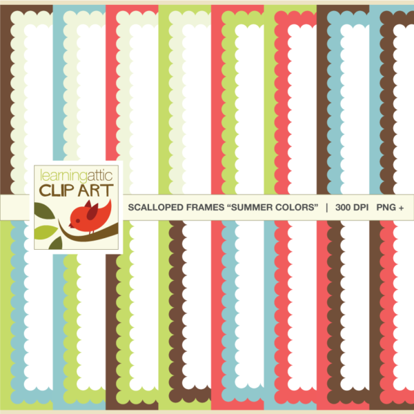 Scallop Bordered Backgrounds: Digital Paper - Clip Art