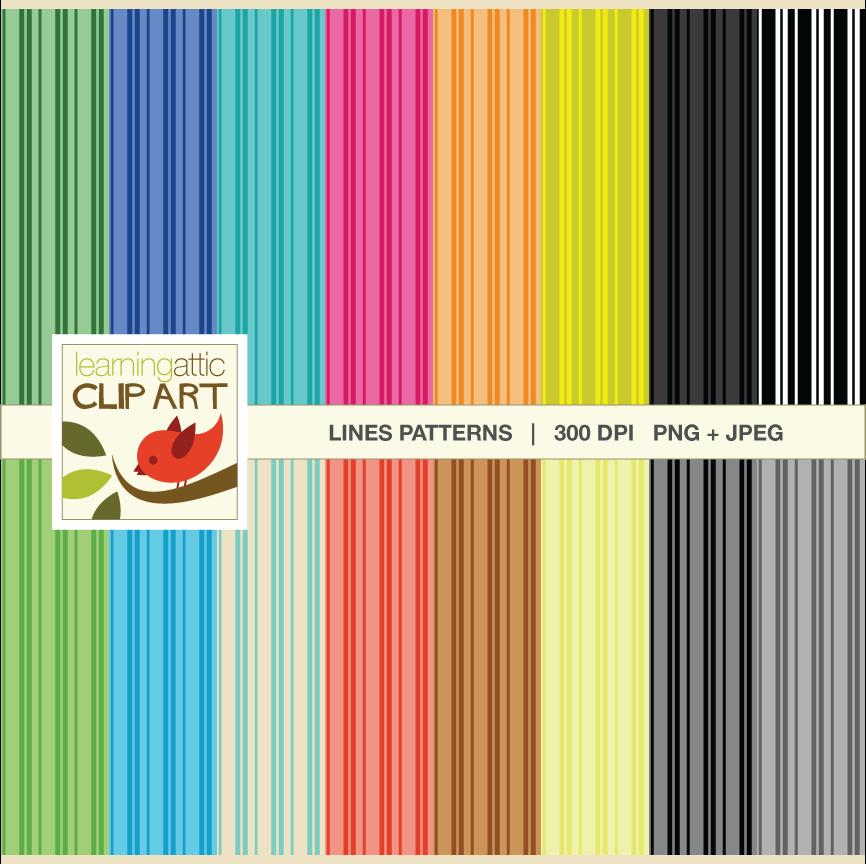 Digital Papers Various Lines Pattern In Various Bright