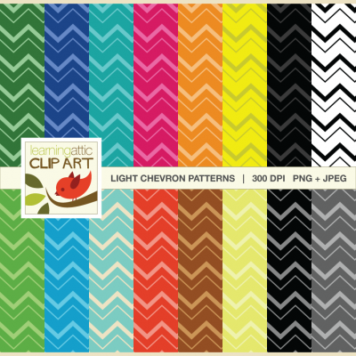 Digital Papers – Chevron Pattern in Various Bright Colors