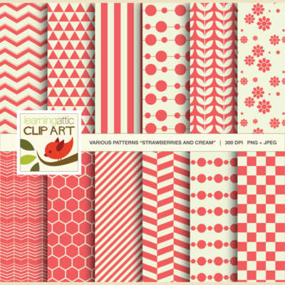 Digital Papers Strawberries & Cream