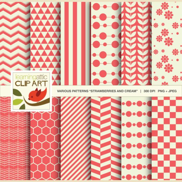 Digital Papers Strawberries & Cream