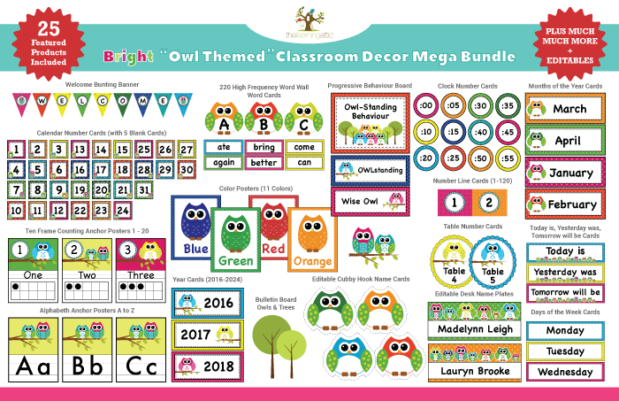 Owl Themed Classroom Decor Mega Bundle