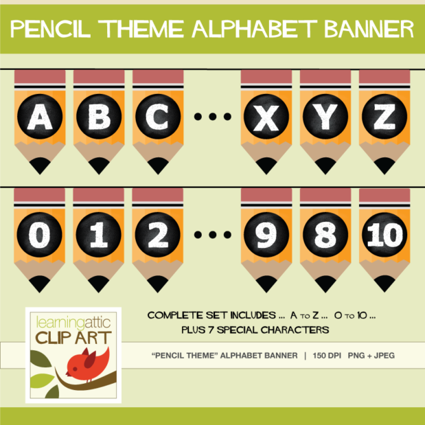 Complete Set Bunting Banner Pencil Theme