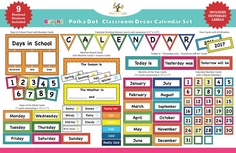 Classroom Calendar Set : Bright polka dot calendar set learning attic