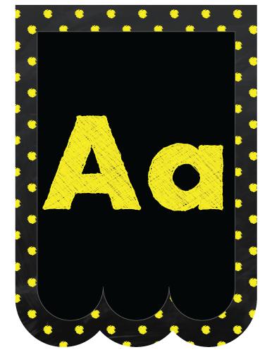 Chalkboard Bunting Banner Alphabet Polka Dot