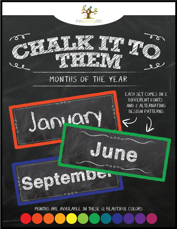Chalkboard Months of the Year Cards