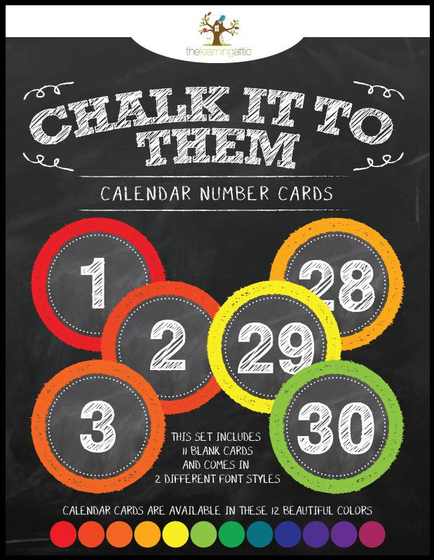 Chalkboard Calendar Number Cards