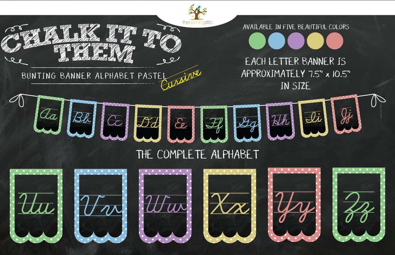Classroom Decor Items ~ Chalkboard bunting banner alphabet polka dot in pastel