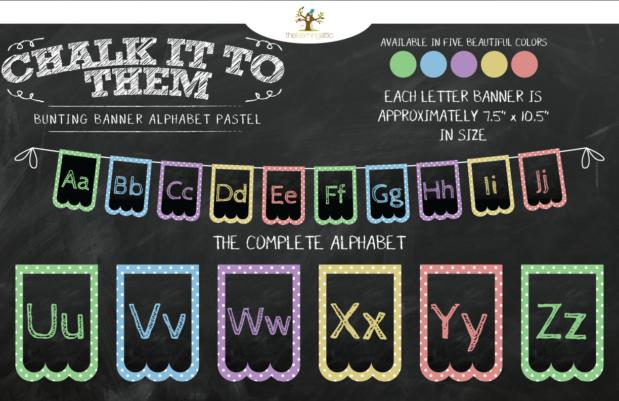 Chalkboard Bunting Banner Alphabet Polka Dot in Pastel