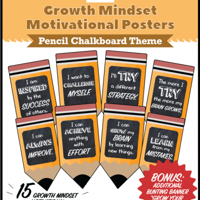Growth Mindset Motivational Posters Pencil Chalkboard Theme
