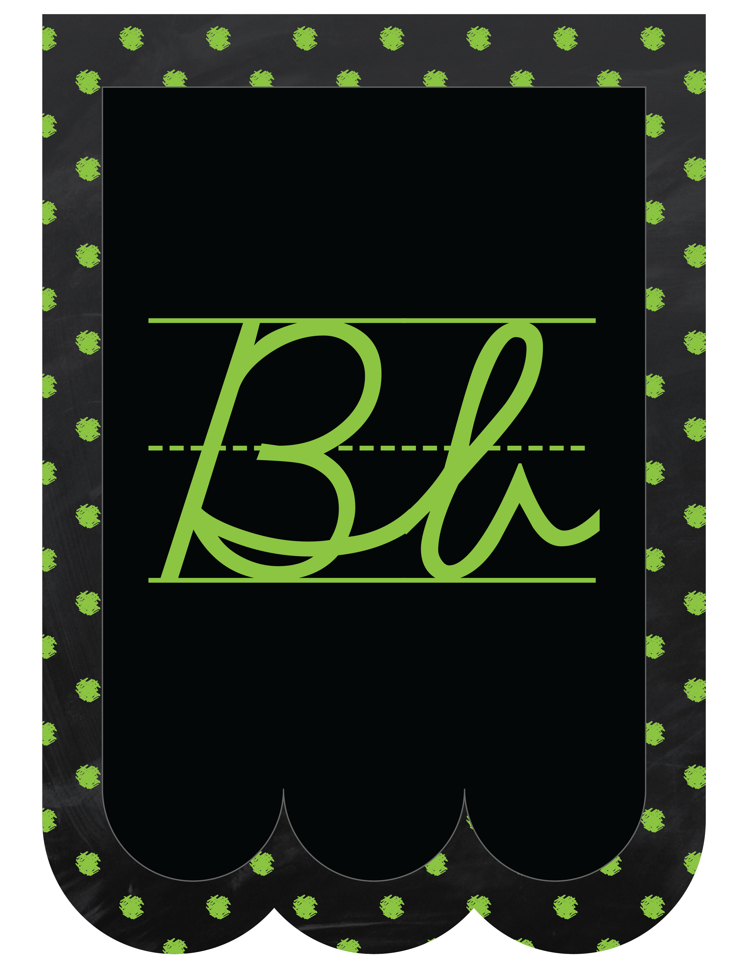 Chalkboard bunting banner alphabet polka dot cursive learning attic chalkboard bunting banner alphabet polka dot in cursive spiritdancerdesigns Image collections