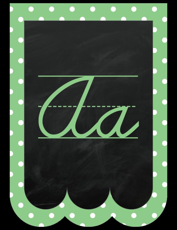 Chalk Scalloped Pennant Letters Pastel Cursive