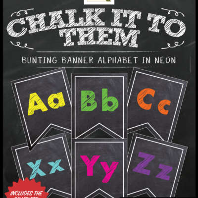 Chalkboard Letters Numbers Banner Neon