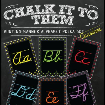 Chalkboard Bunting Banner Alphabet Polka Dot in Cursive