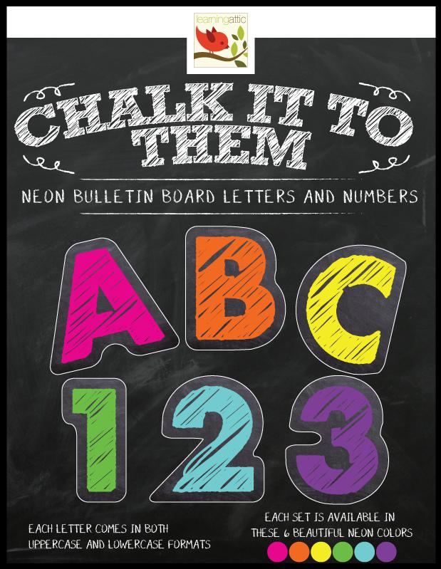 Chalkboard Letters & Numbers in Neon