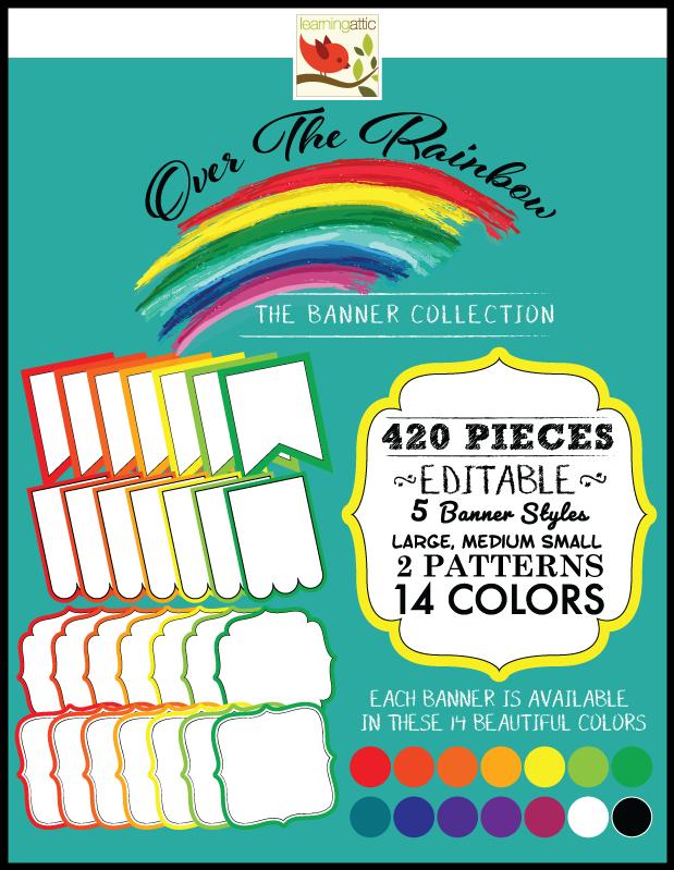 Editable Bunting Banner Rainbow Colors